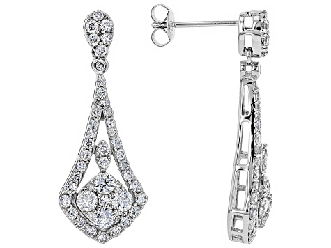 White Lab-Grown Diamond 14K White Gold Earrings 1.70ctw