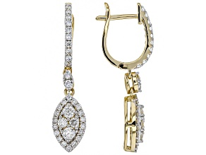 White Lab-Grown Diamond 14K Yellow Gold Earrings 0.94ctw