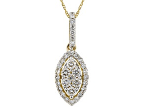 White Lab-Grown Diamond 14K Yellow Gold Pendant 0.53ctw