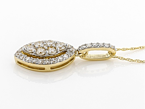 "White Lab-Grown Diamond 14K Yellow Gold Cluster Pendant With 18"" Rope Chain 0.53ctw"
