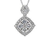 "White Lab-Grown Diamond 14K White Gold Pendant With 18"" Rope Chain 0.84ctw"