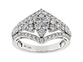 White Lab-Grown Diamond 14K White Gold Cocktail Ring 1.25ctw