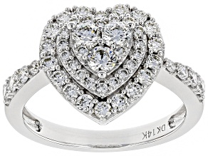 White Lab-Grown Diamond 14K White Gold Heart Cluster Ring 1.20ctw