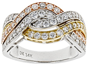 White Lab-Grown Diamond 14K Three-Tone Gold Ring 1.05ctw