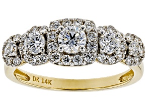 White Lab-Grown Diamond 14K Yellow Gold 5-Stone Halo Ring 0.95ctw