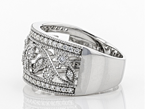 White Lab-Grown Diamond 14K White Gold Ring 0.42ctw