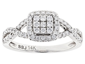 White Lab-Grown Diamond 14K White Gold Cluster Ring 0.50ctw