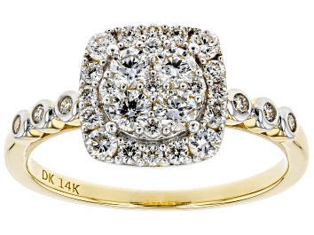Picture of White Lab-Grown Diamond 14K Yellow Gold Cluster Ring 0.72ctw