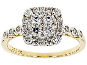 White Lab-Grown Diamond 14K Yellow Gold Ring 0.72ctw