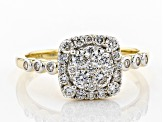 White Lab-Grown Diamond 14K Yellow Gold Cluster Ring 0.72ctw