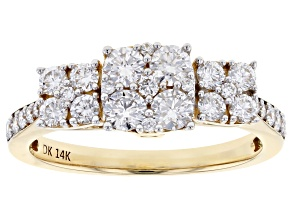 White Lab-Grown Diamond 14K Yellow Gold Ring 1.00ctw
