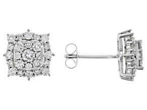 White Lab-Grown Diamond 14K White Gold Earrings 1.08ctw
