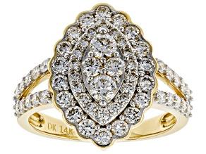 White Lab-Grown Diamond 14K Yellow Gold Ring 1.47ctw