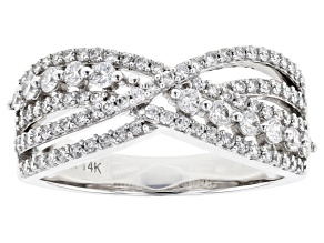 White Lab-Grown Diamond 14K White Gold Band Ring 0.71ctw
