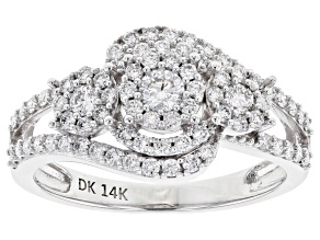 White Lab-Grown Diamond 14K White Gold Cluster Ring 0.77ctw