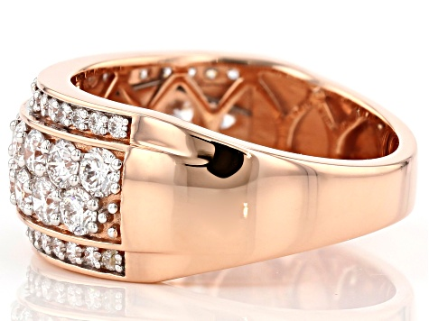 White Lab-Grown Diamond 14K Rose Gold Ring 1.62ctw