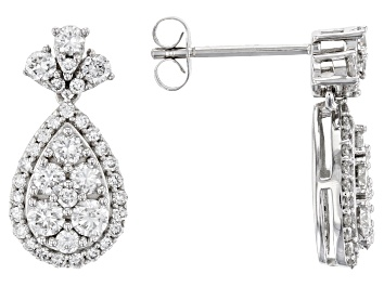 Picture of White Lab-Grown Diamond 14K White Gold Earrings 1.05ctw