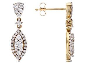 White Lab-Grown Diamond 14K Yellow Gold Earrings 0.88ctw
