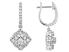 White Lab-Grown Diamond 14k White Gold Earrings 1.09ctw