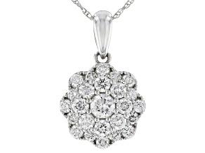 White Lab-Grown Diamond 14K White Gold Pendant With Chain 0.76ctw