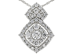 White Lab-Grown Diamond 14K White Gold Cluster Pendant With An 18