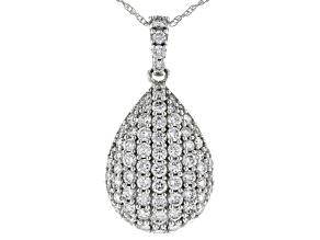 White Lab-Grown Diamond 14K White Gold Pendant With Chain 1.03ctw