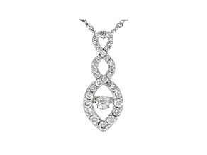 White Lab-Grown Diamond 14K White Gold Pendant With Chain 0.50ctw