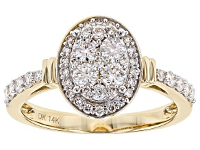 White Lab-Grown Diamond 14K Yellow Gold Cluster Ring 0.75ctw