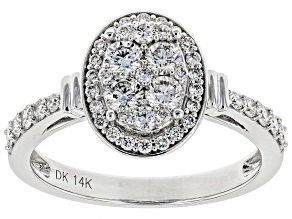 White Lab-Grown Diamond 14K White Gold Ring 0.75ctw