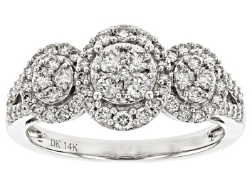 Picture of White Lab-Grown Diamond 14K White Gold Cluster Ring 0.73ctw