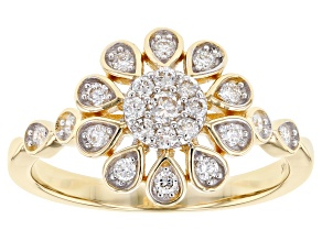 White Lab-Grown Diamond 14K Yellow Gold Ring 0.39ctw