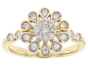 White Lab-Grown Diamond 14K Yellow Gold Ring 0.39ctw