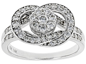 White Lab-Grown Diamond 14K White Gold Ring 0.80ctw
