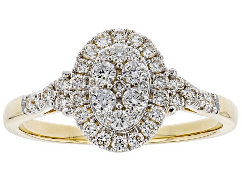 White Lab-Grown Diamond 14K Yellow Gold Cluster Ring 0.50ctw