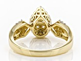White Lab-Grown Diamond 14K Yellow Gold Ring 0.55ctw