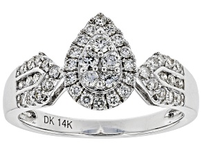 White Lab-Grown Diamond 14K White Gold Ring 0.55ctw