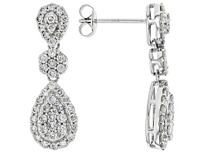 White Lab-Grown Diamond 14K White Gold Earrings 1.05ctw