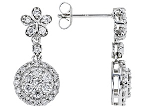 White Lab-Grown Diamond 14K White Gold Earrings 0.96ctw