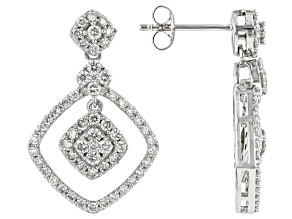 White Lab-Grown Diamond 14K White Gold Earrings 1.45ctw