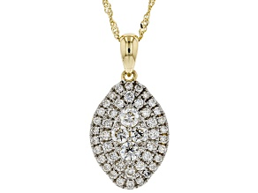 White Lab-Grown Diamond 14K Yellow Gold Cluster Pendant With 18
