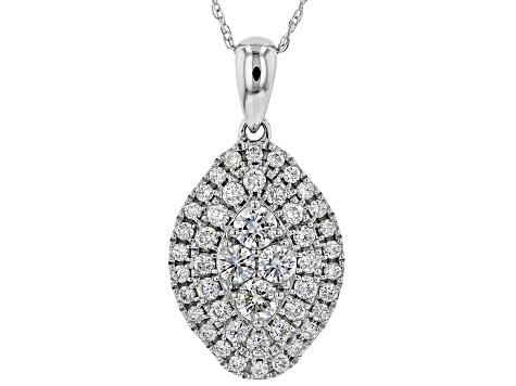 White Lab-Grown Diamond 14K White Gold Pendant With Chain 0.74ctw