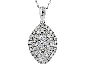 White Lab-Grown Diamond 14K White Gold Cluster Pendant With Chain 0.74ctw