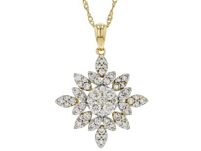 "White Lab-Grown Diamond 14K Yellow Gold Cluster Pendant With 18"" Singapore Chain 1.05ctw"