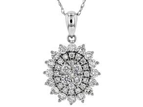 White Lab-Grown Diamond 14K White Gold Pendant With Chain 0.92ctw