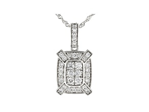 White Lab-Grown Diamond 14K White Gold Pendant With Chain 0.47ctw