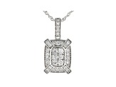 White Lab-Grown Diamond 14K White Gold Cluster Pendant With Chain 0.47ctw