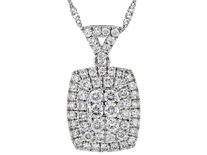 "White Lab-Grown Diamond 14K White Gold Cluster Pendant With 18"" Singapore Chain 0.82ctw"