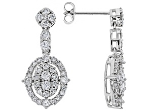 White Lab-Grown Diamond 14K White Gold Earrings 1.60ctw