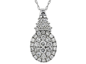 White Lab-Grown Diamond 14K White Gold Pendant With Chain