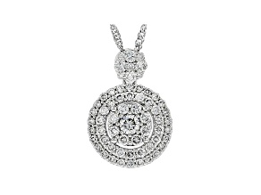 White Lab-Grown Diamond 14K White Gold Cluster Pendant With 18